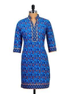 Striking Blue Printed Kurta - Paridhaan