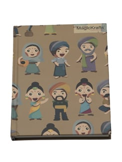 Indian Caricature Figurines Print Brown Notebook - Magickrafts