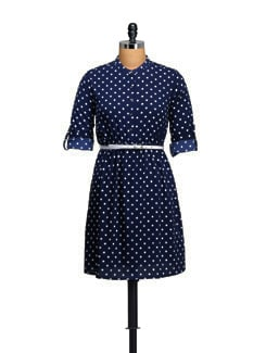 Polka Dot Print Dress With White Belt - Myaddiction