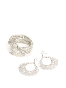Silver Beaded Cuff and Etched Earrings