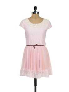 Cute Pink Lace Dress - Sanchey