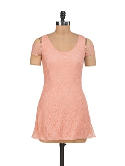 Peach Net Panelled Dress - Sanchey