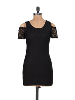 Black Lycra Lace Dress With Shoulder Cut-Out - Sanchey