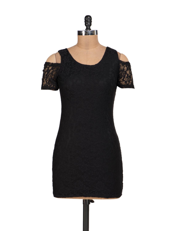 Black Lycra Lace Dress With Shoulder Cut-Out - Sanchey