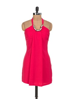 Vibrant Pink Halter Neck Dress - Sanchey