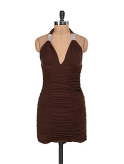 Sexy Brown Halter Neck Dress - Sanchey