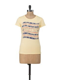 School Pride Yellow Round Neck T-shirt - American Swan