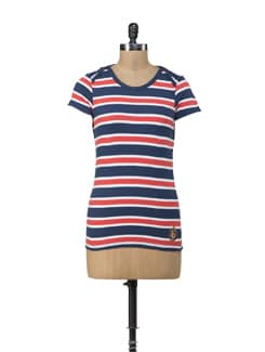 Outhaul Striped Navy Tee - American Swan