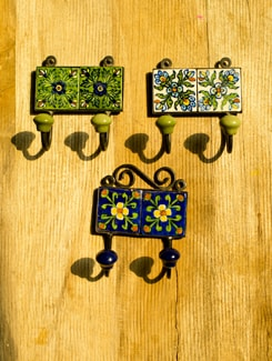 Ceramic Hanging Hooks (Set Of 3) - Jaipur Blue Pottery