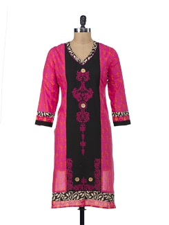 Embroidered Kurta In Hot Pink - NAVYOU