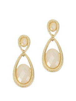Chic Gold And White Drop Earrings - Besiva