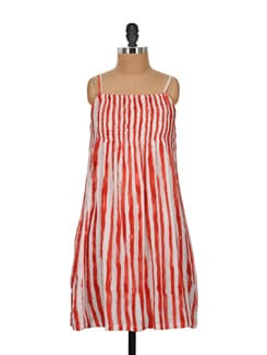 Strappy Orange & White Striped Dress - Nineteen