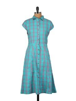Blue & Pink Checked Dress - Nineteen