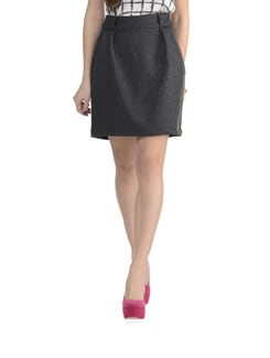 Knee Length Loop Woollen Skirt - MARTINI