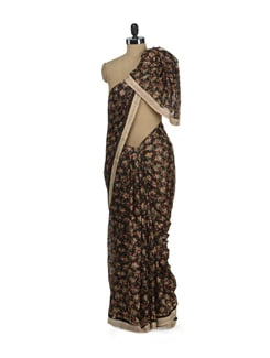 Elegant Black Phulkari Chiffon Saree - Home Of Impression