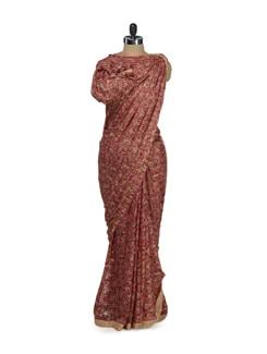 Trendy Pink Phulkari Chiffon Saree - Home Of Impression