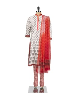 Printed Suit Set With Contrasting Churidar And Chiffon Dupatta - KILOL