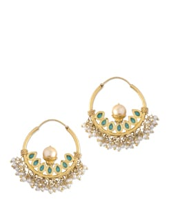 Gold Plated Silver Hoops With Turquoise And Pearls - Posy Samriddh