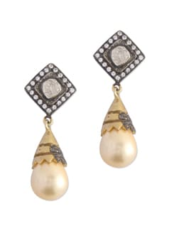 Gold Plated Silver Earrings With Jekons - Posy Samriddh