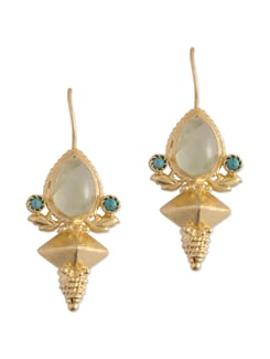 Gold Plated Silver Dangler With Turquoise And Aquamarine Stone - Posy Samriddh
