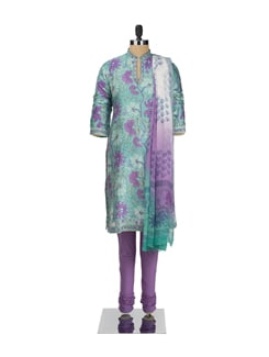 Lavender And Green Floral Motif Suit Set - KILOL