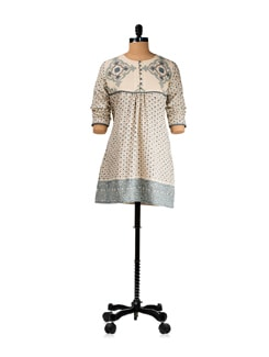 Off White And Blue Block Print Kurti With Loop Buttons - KILOL