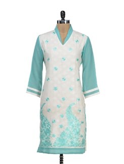 Off White Kurta With Sea Green Embroidery - STRI