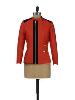 Red Jacket With Velvet Shoulder Patch - HERMOSEAR