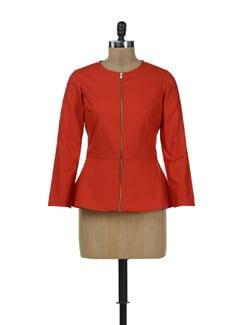 Red Peplum Jacket - HERMOSEAR