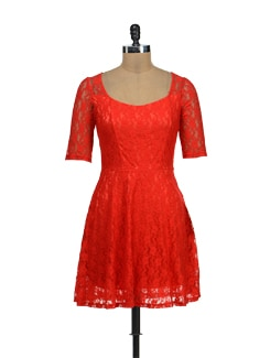 Bright Orange Lace Dress - TREND SHOP
