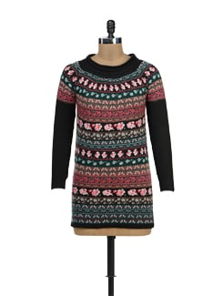 Printed Woolen Dress - TREND SHOP