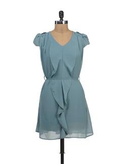 Grey Ruffled Dress - TREND SHOP