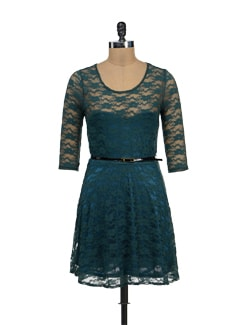 Teal Blue Floral Lace Dress - TREND SHOP