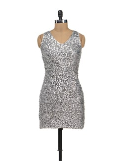 Siver Sequins Embellished Sleevless Dress - TREND SHOP