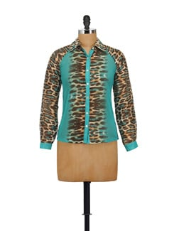 Blue & Brown Animal Print Shirt - AKYRA