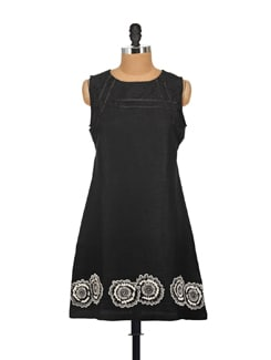 Embroidered Black Dress - AKYRA