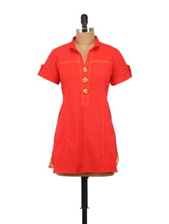 Stylish Orange Tunic With Printed Back - AKYRA