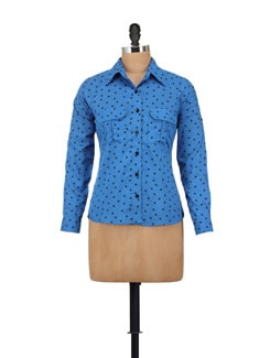 Cobalt Blue & Black Dotted Shirt - AKYRA