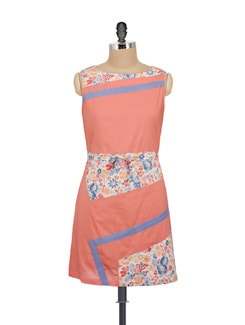 Stylish Peach Printed Dress - AKYRA