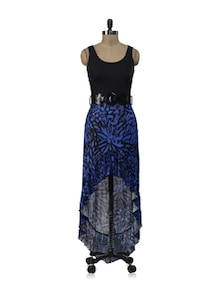 Blue Black Long Dress With Belt - ShopImagine