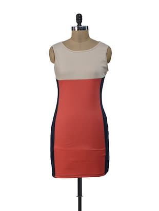 Colour Blocked Panelled Dress