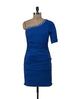 Royal Blue Embellished One Shoulder Dress - ShopImagine