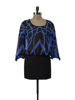 Printed Blue Black Dress - ShopImagine