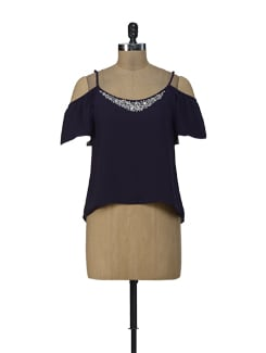 Purple Embellished Cut Out Shoulder Top - ShopImagine