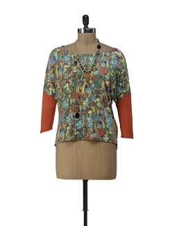 Orange Multi-Coloured Top With Necklace - ShopImagine