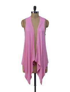 Pink Crochet Asymmetrical Shrug - ShopImagine