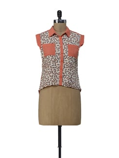 Printed Orange Asymmetrical Shirt - ShopImagine