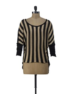 Striped Black And White Top With A Back Slit - ShopImagine