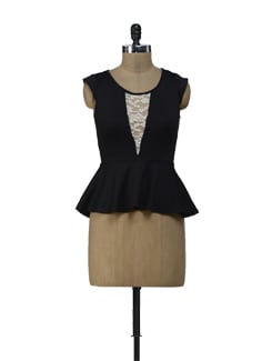 Black Peplum Top With Lace Panel - ShopImagine