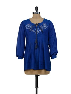 Royal Blue Embroidered Top - URBAN RELIGION